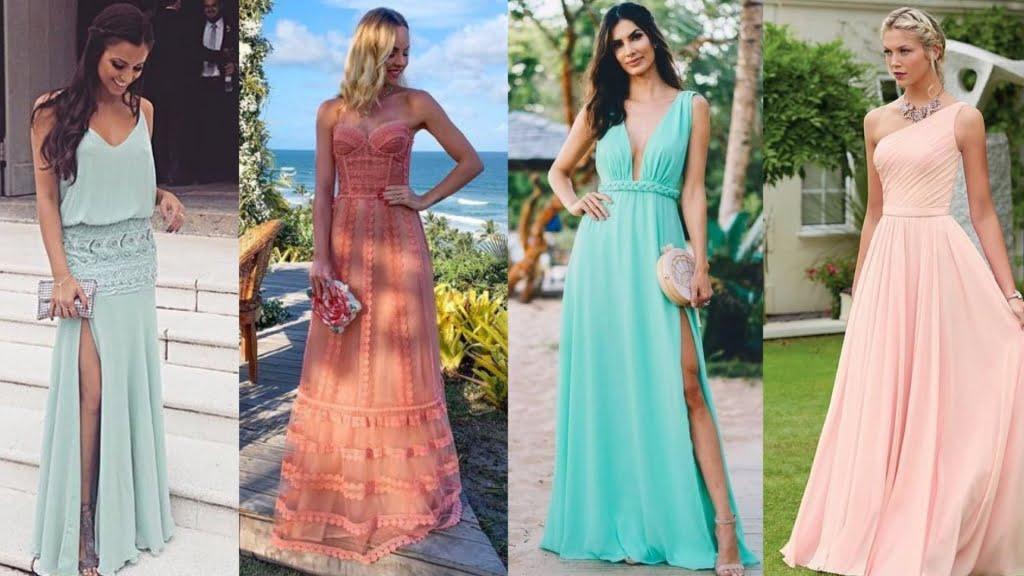 Modelos fluídos, leves e de cores suaves são perfeitos para o vestido de madrinha de dia.