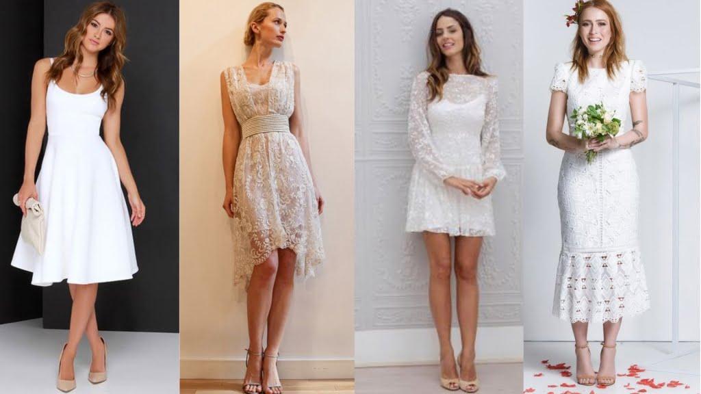 Os vestidos no comprimento midi ou curto caem super bem para noivados que sejam comemorados de forma mais informal.