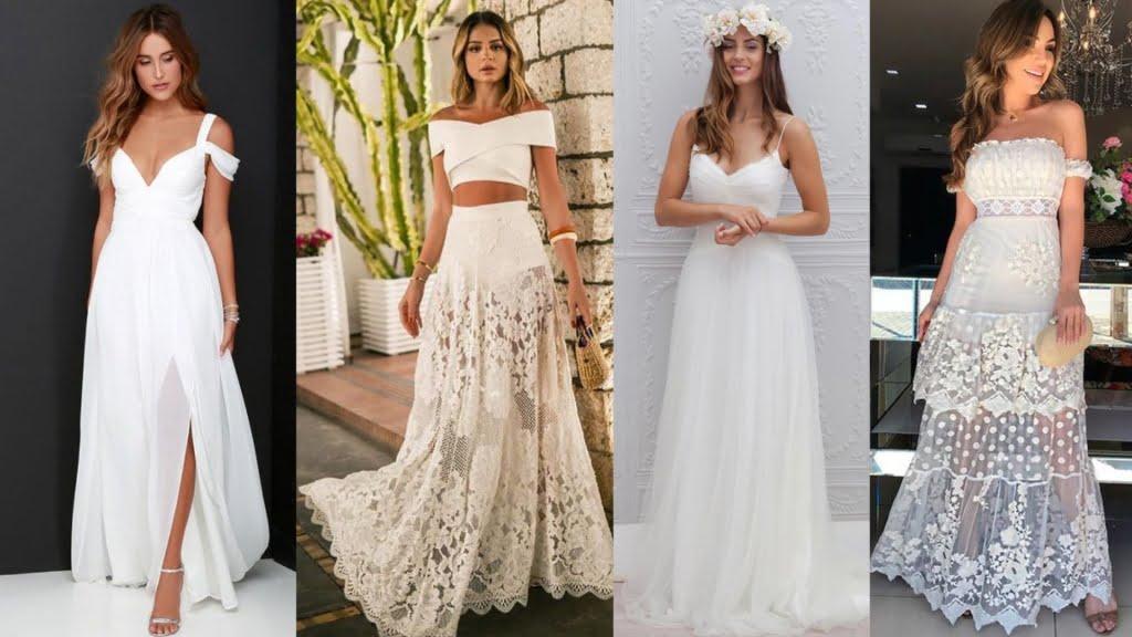 Os vestidos longos se adaptam muito bem à noivados realizados à noite. Mas, a depender do modelo e tecido, também podem ser usados em cerimônias de dia.