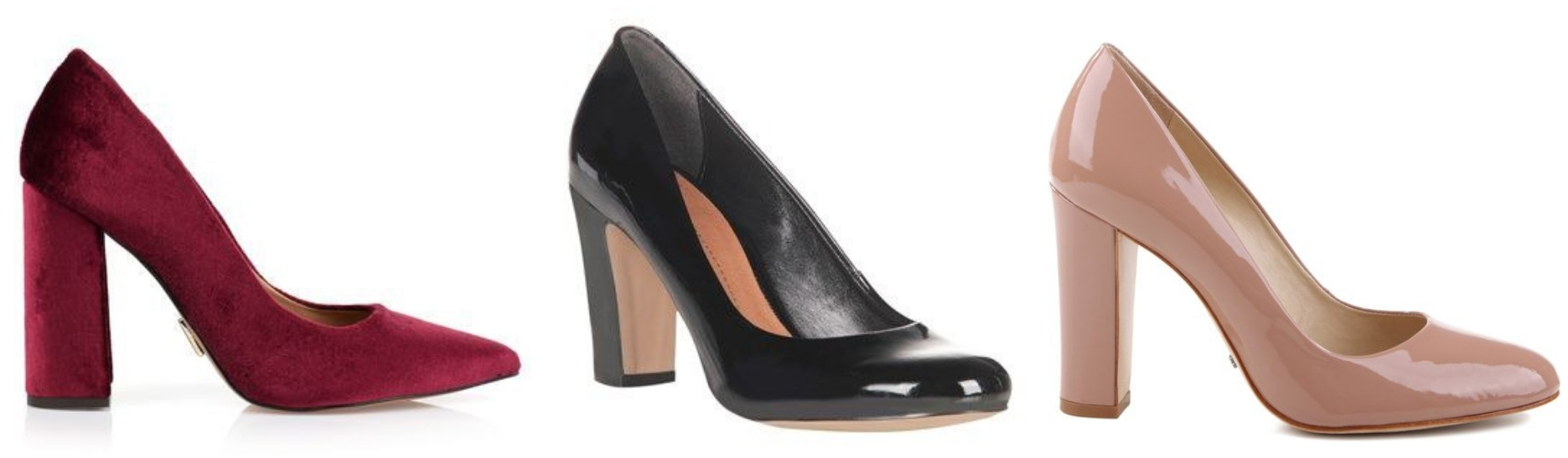 O scarpin é um modelo clássico e elegante. Na versão de salto grosso e bico mais arredondado este tipo de sapato fica mais confortável.