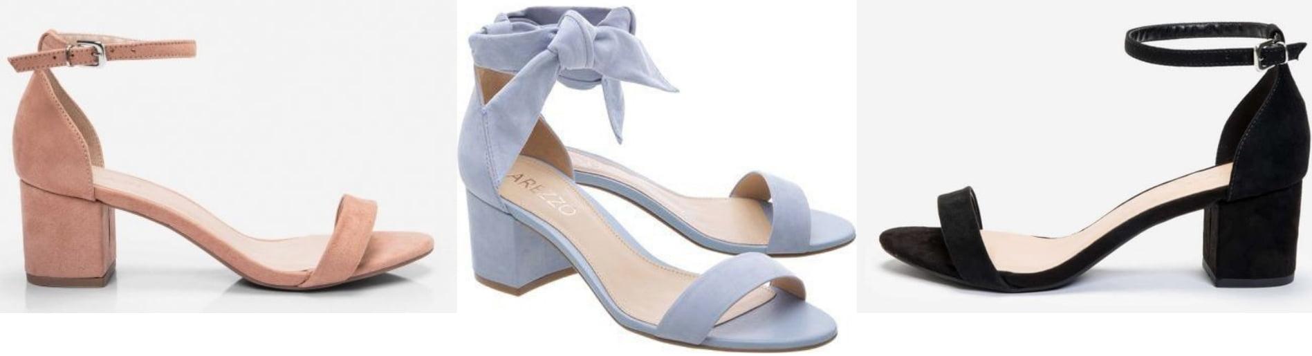 Sandálias de salto grosso baixo também podem ser usadas para compor uma produção feminina e delicada em um evento mais informal.