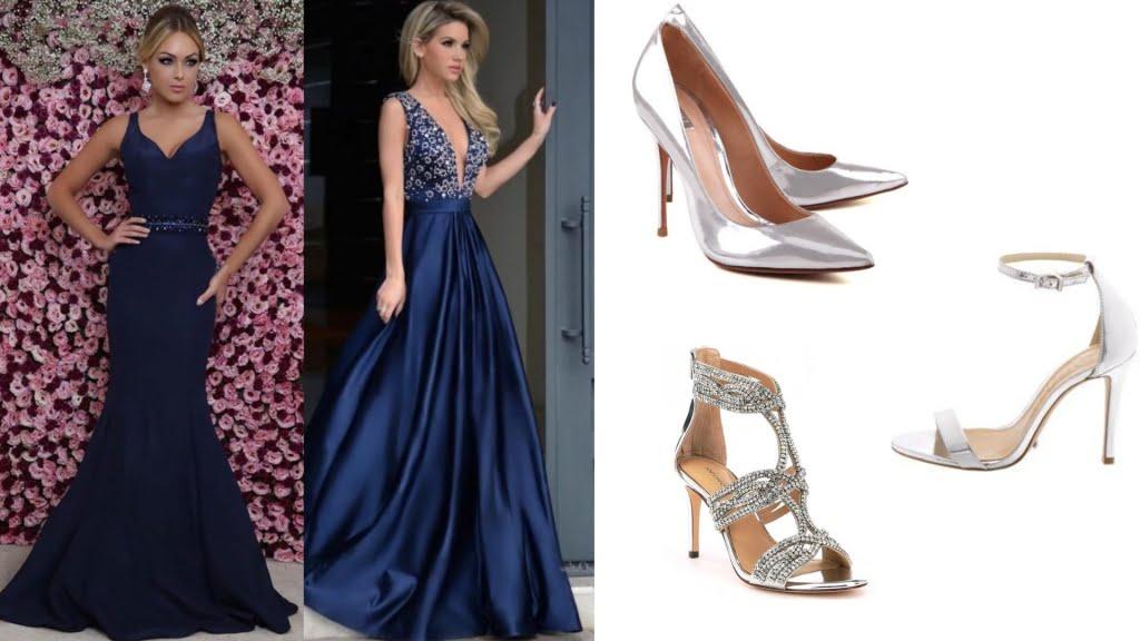na hora de escolher que sapato usar com vestido longo azul, o prateado é a opção perfeita para incrementar e deixar seu look sofisticado. Perfeito para festas com o dress code mais formal.