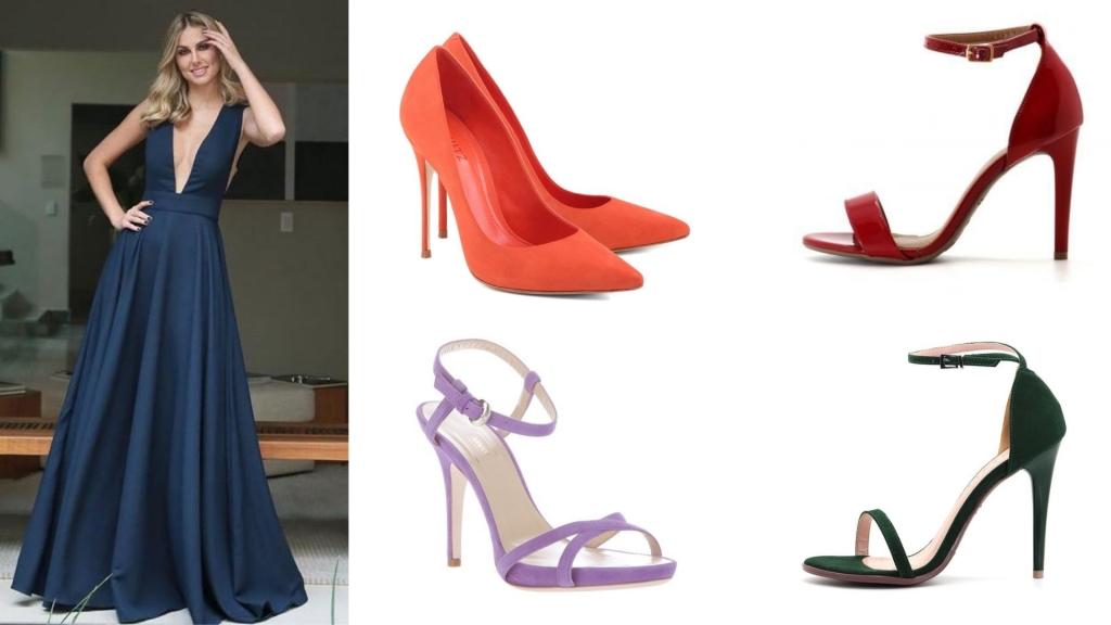 Usar um sapato colorido com vestido longo azul é uma escolha ousada e que dá muito certo, basta seguir a combinação do círculo de cores.