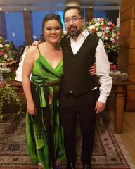 Vestido de Festa Longo Bicolor