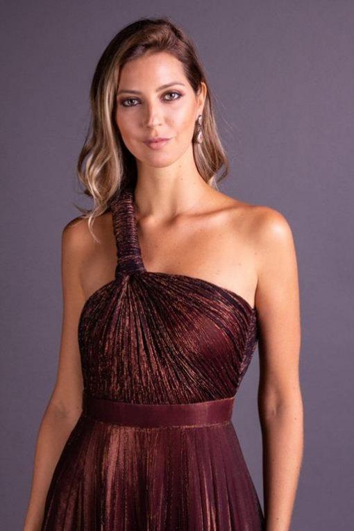 Vestido de Festa Longo Grego Ferrugem
