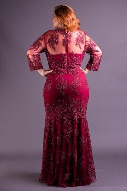 Vestido de Festa Longo plus size em renda marsala
