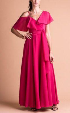 Vestido de Festa Longo Rosa Pink sem Bordado