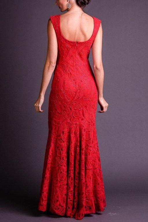 Vestido de Festa Longo Sereia Vermelho bordado