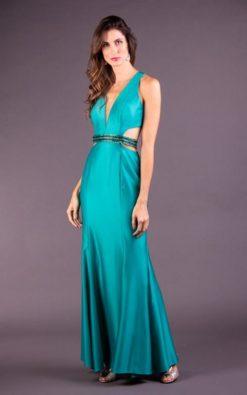 Vestido de Festa Longo Verde Jade Sereia