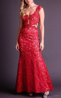 Vestido de Festa Longo Vermelho Sereia Rendado