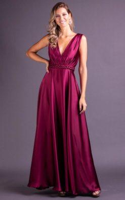 Vestido de Festa longo vinho de cetim elegante