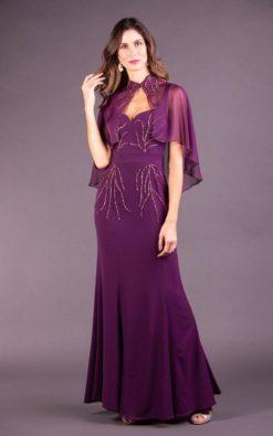 Vestido de Festa Longo Violetta com Capinha