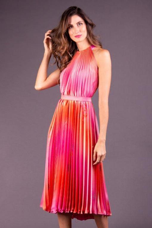 Vestido de Festa Midi Rosa com Laranja