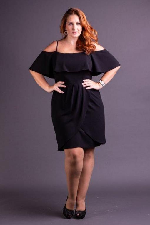 Vestido de Festa Plus Size curto preto de alças com babados