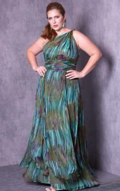 Vestido de Festa Plus Size Curvy Flues Green