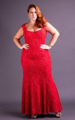 Vestido de Festa Plus Size de renda vermelho bordado a mão frente e costas