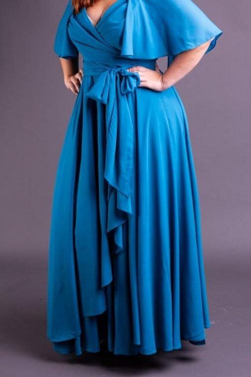 Vestido de Festa Plus Size longo saia de cascata com busto transpassado paris