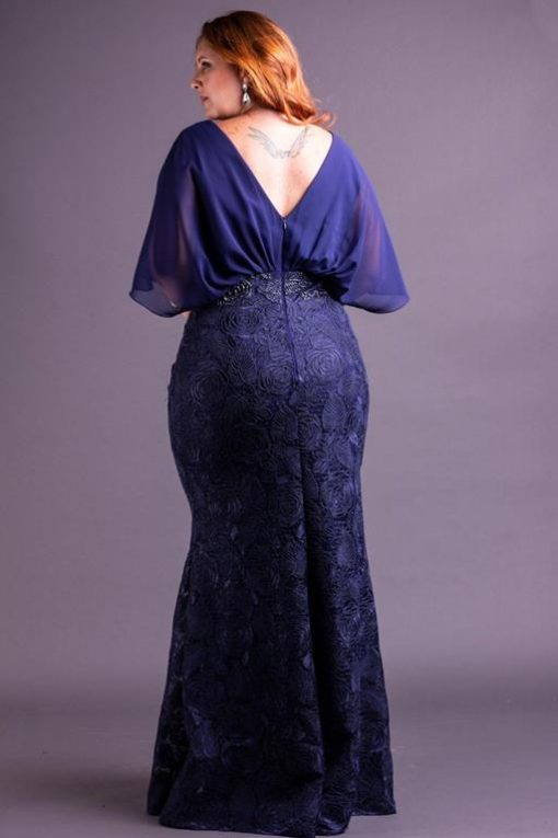 Vestido de Festa Plus Size Longo Sereia Azul Marinho Curvy