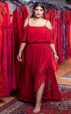Vestido de Festa Plus Size Marsala New