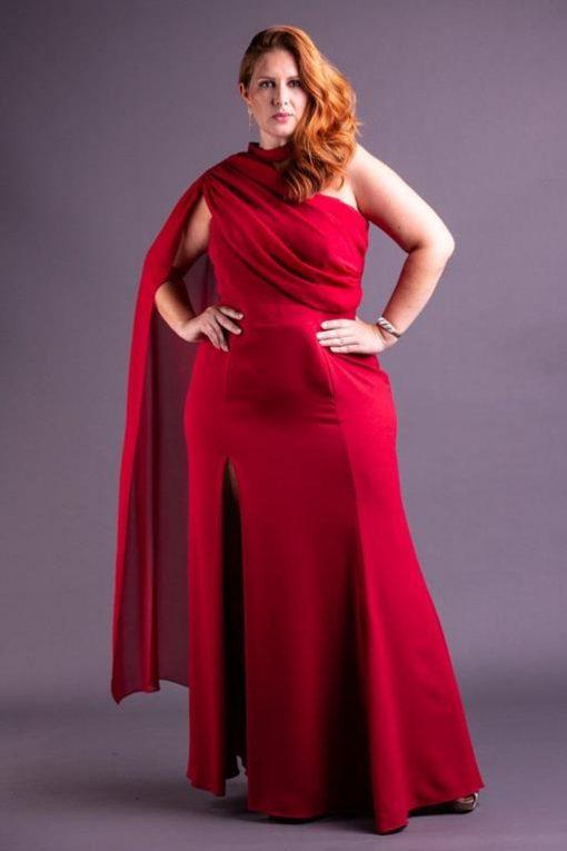 Vestido de Festa Plus Size Sereia com echarpe presa lateral