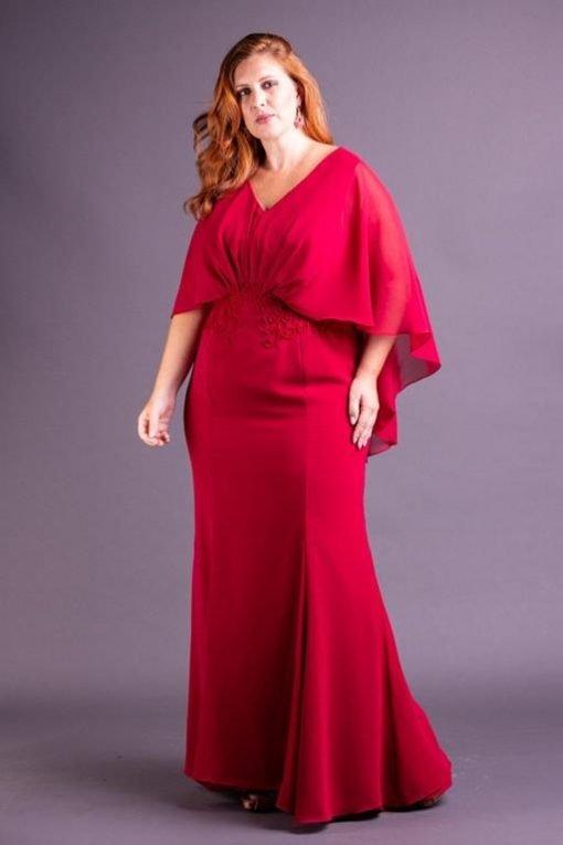 Vestido de Festa Plus Size Vermelho Marsala Longo Sereia