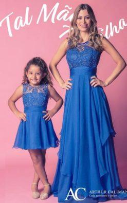 Vestidos de Festa Infantil coordenado tal mãe tal filha em seda pura