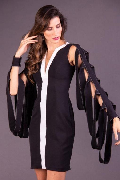 Vestido de Festa Curto Preto com Branco