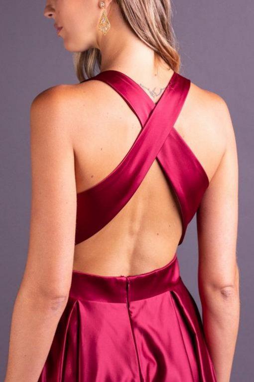 Vestido de Festa Curto Vinho Decote V