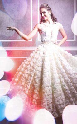 Vestido de Festa Debutante Longo com Transparência