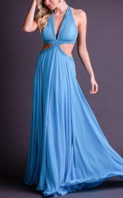 Vestido de Festa Longo Azul Claro Decote em V