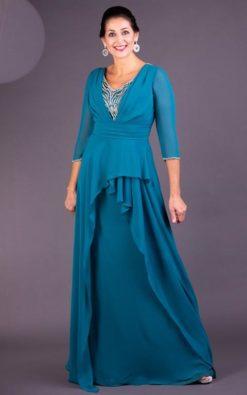 Vestido de Festa Longo Azul Danúbio com Mangas