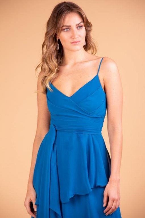 Vestido de Festa Longo Azul de Alcinha