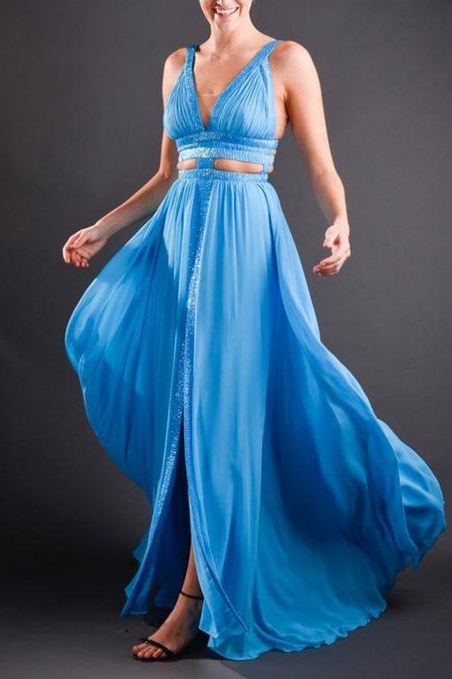 Vestido de Festa Longo Azul Decote V