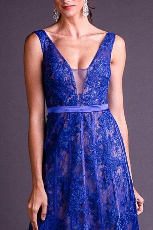 Vestido de Festa Longo Azul Marinho Decotado