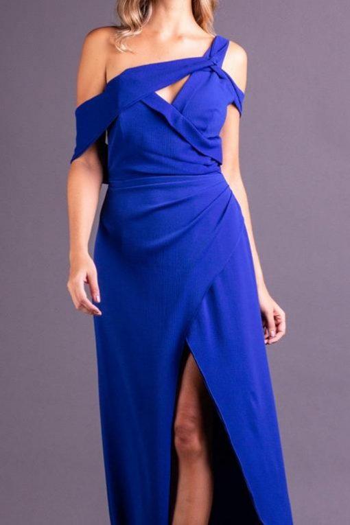 Vestido de Festa Longo azul royal com fenda Grammy