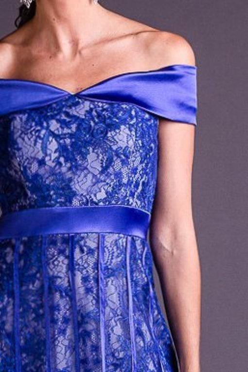 Vestido de Festa Longo Azul Royal com Renda