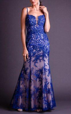 Vestido de Festa Longo Azul Royal Malak