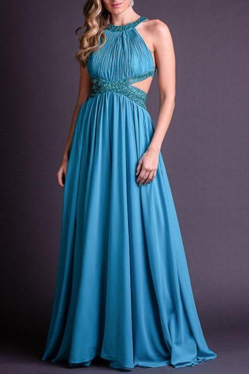Vestido de Festa Longo Azul Safira Frente Única