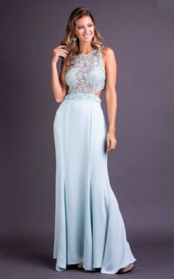 Vestido de Festa Longo Bordado Azul Tifany