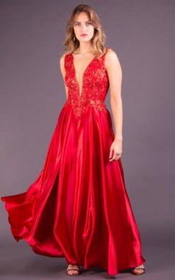 Vestido de Festa Longo Bordado Vermelho
