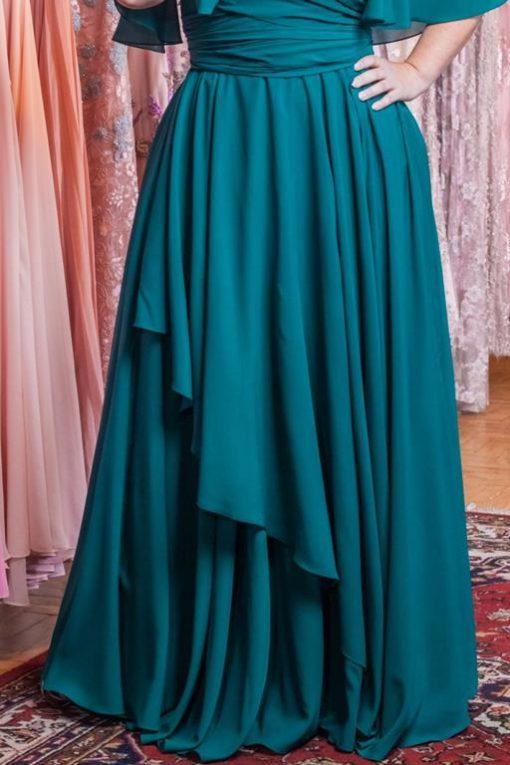 Vestido de Festa Longo Busto Transpassado e Saia Cascata