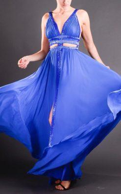 Vestido de Festa Longo Capella Azul Marinho