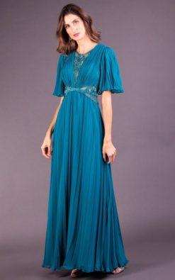 Vestido de Festa Longo com Manga Azul Danúbio