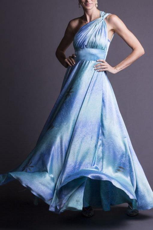 Vestido de Festa Longo de Cetim Azul