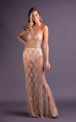 Vestido de Festa Longo Dourado Sereia