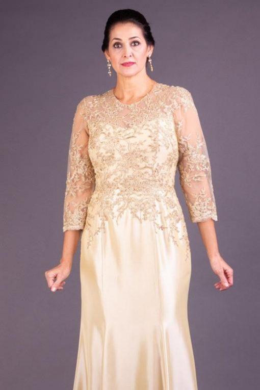 Vestido de Festa Longo Dourado Sereia com Transparência