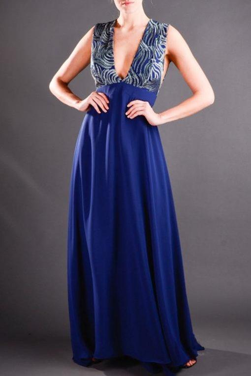 Vestido de Festa Longo Ousado Azul Marinho