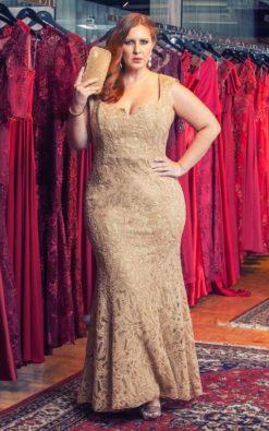 Vestido de Festa Longo Plus Size Dourado Sereia