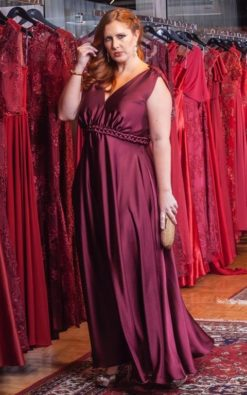 Vestido de Festa Longo Plus Size Marsala