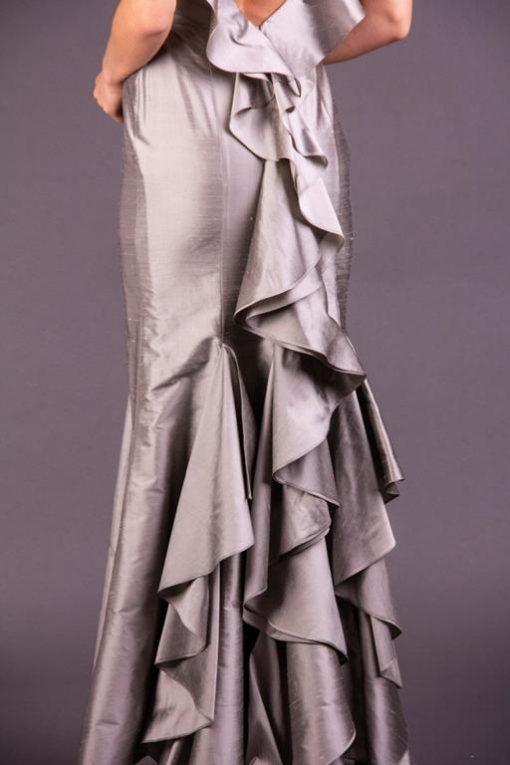 Vestido de Festa Longo Prata com Alcinhas